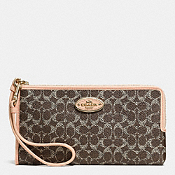 COACH L-ZIP WALLET IN EMBOSSED SIGNATURE - LIGHT GOLD/SADDLE/APRICOT - F53412