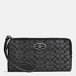 COACH L-ZIP WALLET IN EMBOSSED SIGNATURE - SILVER/CHARCOAL - F53412