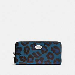 COACH ACCORDION ZIP WALLET IN OCELOT PRINT COATED CANVAS - SILVER/SLATE - F53414