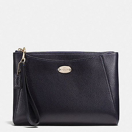 COACH MORGAN CLUTCH 24 IN PEBBLE LEATHER - LIGHT GOLD/MIDNIGHT - f53417