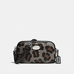 COACH CROSSBODY POUCH IN OCELOT PRINT HAIRCALF - SILVER/GREY MULTI - F53421