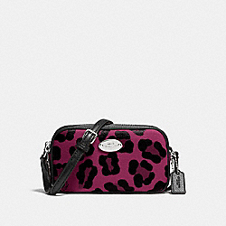 COACH CROSSBODY POUCH IN OCELOT PRINT COATED CANVAS - SILVER/CRANBERRY - F53421