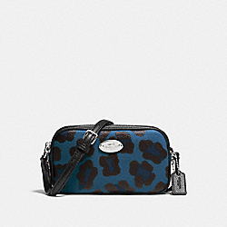 COACH CROSSBODY POUCH IN OCELOT PRINT COATED CANVAS - SILVER/SLATE - F53421