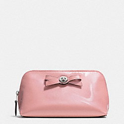 TURNLOCK BOW COSMETIC CASE 17 IN PEBBLE LEATHER - SILVER/BLUSH - COACH F53423