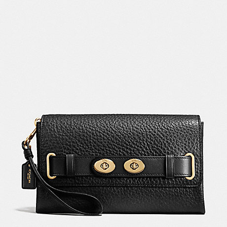 COACH BLAKE CLUTCH IN BUBBLE LEATHER - IMITATION GOLD/BLACK F37336 - f53424