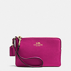 COACH CORNER ZIP WRISTLET IN CROSSGRAIN LEATHER - IMCBY - F53429