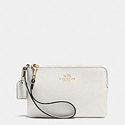 COACH CORNER ZIP WRISTLET IN CROSSGRAIN LEATHER - IMITATION GOLD/CHALK - F53429
