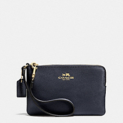 COACH CORNER ZIP WRISTLET IN CROSSGRAIN LEATHER - LIGHT GOLD/MIDNIGHT - F53429