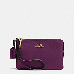 CORNER ZIP WRISTLET IN CROSSGRAIN LEATHER - IMITATION GOLD/PLUM - COACH F53429