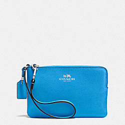 COACH CORNER ZIP WRISTLET IN CROSSGRAIN LEATHER - SILVER/AZURE - F53429