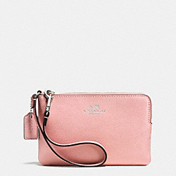 COACH CORNER ZIP WRISTLET IN CROSSGRAIN LEATHER - SILVER/BLUSH - F53429