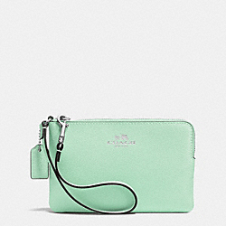 CORNER ZIP WRISTLET IN CROSSGRAIN LEATHER - SILVER/SEAGLASS - COACH F53429