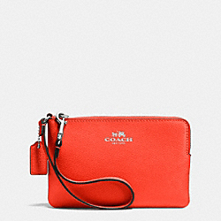 COACH CORNER ZIP WRISTLET IN CROSSGRAIN LEATHER - SILVER/ORANGE - F53429