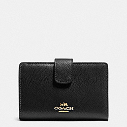 COACH MEDIUM CORNER ZIP WALLET IN CROSSGRAIN LEATHER - LIGHT GOLD/BLACK - F53436