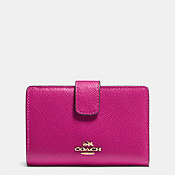 MEDIUM CORNER ZIP WALLET IN CROSSGRAIN LEATHER - IMCBY - COACH F53436