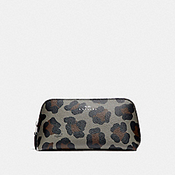 COSMETIC CASE 17 WITH OCELOT PRINT - SILVER/GREY MULTI - COACH F53438