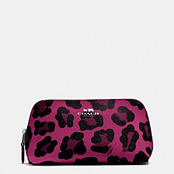 COACH COSMETIC CASE 17 IN OCELOT PRINT COATED CANVAS - SILVER/CRANBERRY - F53438