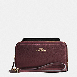 DOUBLE ZIP PHONE WALLET IN BRAMBLE ROSE LEATHER - IMEET - COACH F53443
