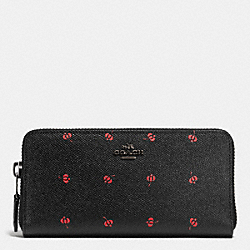 ACCORDION ZIP WALLET IN FLORAL PRINT LEATHER - f53445 - BLACK ANTIQUE NICKEL/PRAIRIE BUD