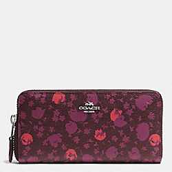 ACCORDION ZIP WALLET IN FLORAL PRINT LEATHER - f53445 - SILVER/OXBLOOD PRAIRIE CALICO