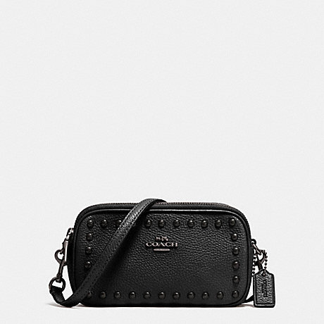 COACH f53450 CROSSBODY POUCH IN LACQUER RIVETS PEBBLE LEATHER ANTIQUE NICKEL/BLACK