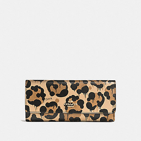 COACH SOFT WALLET IN CROSSGRAIN LEATHER WITH WILD BEAST PRINT - LIGHT GOLD/WILD BEAST - f53454
