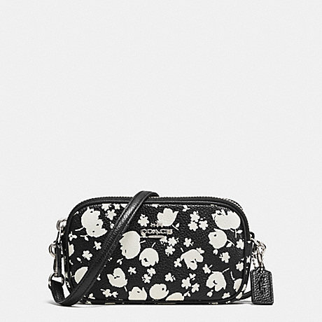 COACH f53482 CROSSBODY POUCH IN FLORAL PRINT LEATHER SILVER/CHALK PRAIRIE CALICO