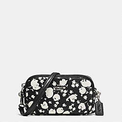 COACH CROSSBODY POUCH IN FLORAL PRINT LEATHER - SILVER/CHALK PRAIRIE CALICO - F53482