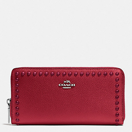 COACH ACCORDION ZIP WALLET IN LACQUER RIVETS PEBBLE LEATHER - SILVER/RED CURRANT - f53489