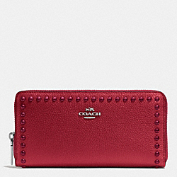 ACCORDION ZIP WALLET IN LACQUER RIVETS PEBBLE LEATHER - f53489 - SILVER/RED CURRANT