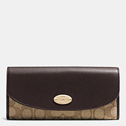COACH SLIM ENVELOPE WALLET IN SIGNATURE - LIGHT GOLD/KHAKI/BROWN - F53538