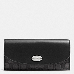 COACH SLIM ENVELOPE WALLET IN SIGNATURE - SILVER/BLACK SMOKE/BLACK - F53538