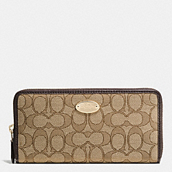 COACH SLIM ENVELOPE WALLET IN SIGNATURE - LIGHT GOLD/KHAKI/BROWN - F53539