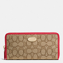 COACH SLIM ENVELOPE WALLET IN SIGNATURE - IMITATION GOLD/KHAKI/CLASSIC RED - F53539