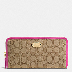 COACH ACCORDION ZIP WALLET IN SIGNATURE - IMITATION GOLD/KHAKI/DAHLIA - F53539