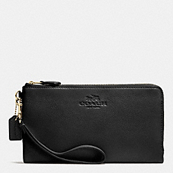 COACH DOUBLE ZIP WALLET IN PEBBLE LEATHER - LIGHT GOLD/BLACK - F53561