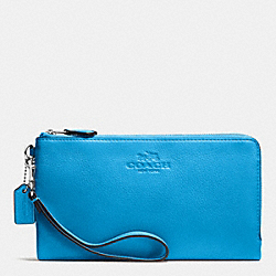 COACH DOUBLE ZIP WALLET IN PEBBLE LEATHER - SILVER/AZURE - F53561