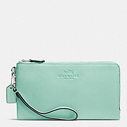 DOUBLE ZIP WALLET IN PEBBLE LEATHER - SILVER/SEAGLASS - COACH F53561