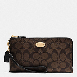 COACH DOUBLE ZIP WALLET IN SIGNATURE - LIGHT GOLD/BROWN/BLACK - F53563
