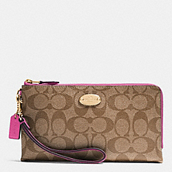 COACH DOUBLE ZIP WALLET IN SIGNATURE - IMITATION GOLD/KHAKI/DAHLIA - F53563