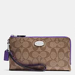 COACH DOUBLE ZIP WALLET IN SIGNATURE - SILVER/KHAKI/PURPLE IRIS - F53563