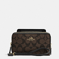COACH DOUBLE ZIP PHONE WALLET IN SIGNATURE - LIGHT GOLD/BROWN/BLACK - F53564