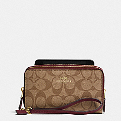 COACH DOUBLE ZIP PHONE WALLET IN SIGNATURE - IMITATION GOLD/KHAKI/SHERRY - F53564