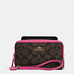 COACH DOUBLE ZIP PHONE WALLET IN SIGNATURE - IME9T - F53564