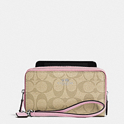 COACH DOUBLE ZIP PHONE WALLET IN SIGNATURE - SILVER/LIGHT KHAKI/PETAL - F53564