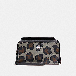 COACH DOUBLE ZIP PHONE WALLET WITH OCELOT PRINT - SILVER/GREY MULTI - F53565