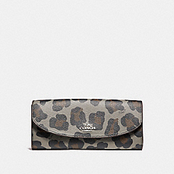 COACH POP SLIM ENVELOPE WALLET IN OCELOT PRINT HAIRCALF - SILVER/GREY MULTI - F53566