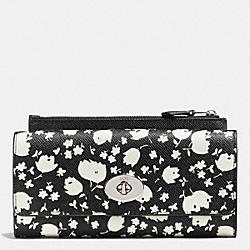 SLIM ENVELOPE WALLET WITH POP-UP POUCH IN FLORAL PRINT LEATHER - SVEE1 - COACH F53573