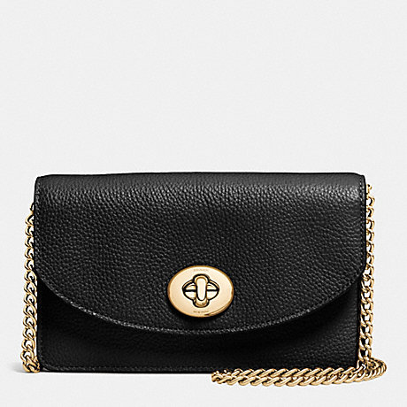 COACH CLUTCH CHAIN WALLET IN PEBBLE LEATHER - LIGHT GOLD/BLACK - f53578