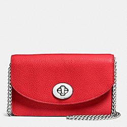 COACH CLUTCH CHAIN WALLET IN PEBBLE LEATHER - SILVER/TRUE RED - F53578
